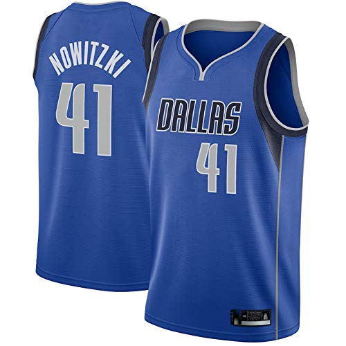 LMSNB Dirk Nowitzki # 41 Jersey de baloncesto al aire libre Jersey de baloncesto para hombre Dallas Mavericks Jersey Royal Smooth and Wearable Chaleco