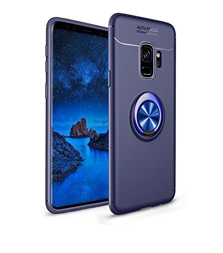 Capa compatível para Samsung Galaxy S9 Capa de silicone Suporte de protetor magnético Anel de absorção de choque TPU + ABS Material Capa anti-queda:Azul