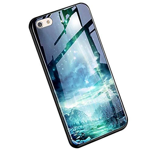 YSIMEE Compatibile con Cover iphone 6/6S Plus Custodie Vetro Temperato Indietro Silicone Notte Fluorescenza Bordo e Cornice in TPU 360 Gradi Sottile Morbida Antiurto Slim Bumper Case,Pace