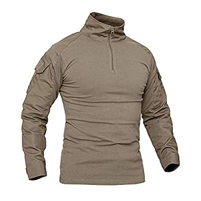 CRYSULLY Male Fall Winter Safari Shirt Fatigue Outdoors Shirt Stylish Classic Climbing Shirts Hiking Shirt Khaki