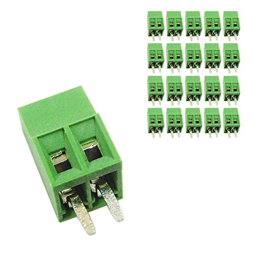DBParts 20pcs 2-Pin (2 Pole) Plug-in Screw Terminal Block Connector 2.54mm Pitch Panel PCB Mount DIY
