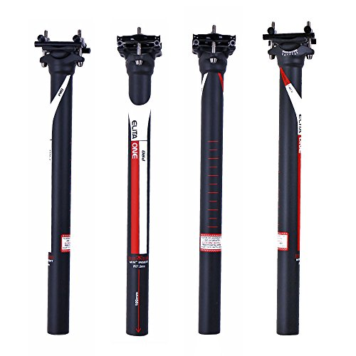 ELITA ONE Full Carbon Fibre seatpost Super Light 125g Offset 0°/7° MTB/Road Bike Carbon seatPosts 27.2/31.6×350/400 mm UD matt red Logo (Ø31.6×350mm, Straight 0°)