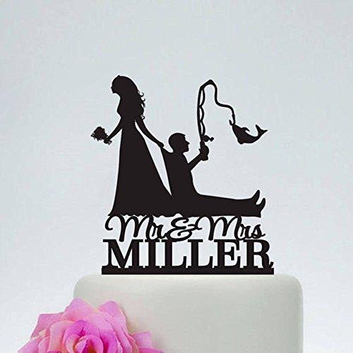 Tortenaufsatz aus Holz, rustikal, Hochzeitsangeln, Tortenaufsatz, Hochzeitspaar und Brautpaar, Silhouette mit Mr. & Mrs.