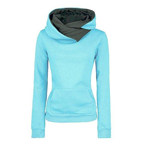 VECDY Damen Pullover,Räumungsverkauf- Herbst Frauen Langarm Hoodie Sweatshirt Pullover mit Kapuze Baumwollmantel Pullover Lässige hohe Kragen warmen Pullover Hoodie(Blau,40)
