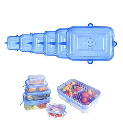 YOUYIKE® Rectangular Tapas de Silicona elásticas, 6 tamaños de Diferentes tamaños Tapas de Silicona para Alimentos, Reutilizable Fundas Protectoras para Alimentos Tapa Tazas, Boles o Tarros,Sin BPA