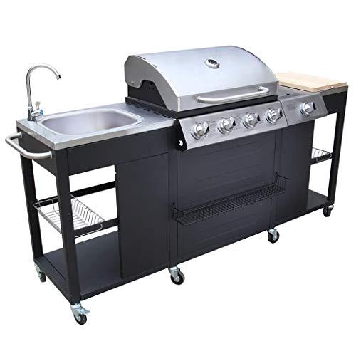 vidaXL Barbecue Esterno Cucina a Gas Completa Acciaio 4 Bruciatori con Ruote
