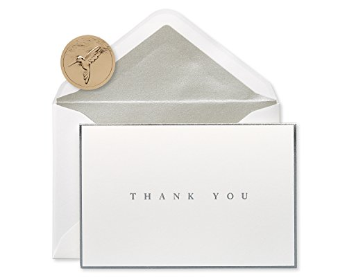 Papyrus Thank You Cards with Envelopes, Silver Border (16-Count)