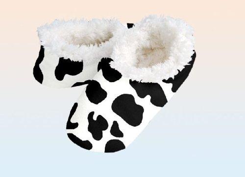 Snoozies Kuschel Hausschuhe im 'Kuh-Design', Schuhgrößen:Größe 38-39
