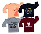 Piku Store Kid's Full Sleeves Peach, Navy, Maroon & Light Grey T-Shirts