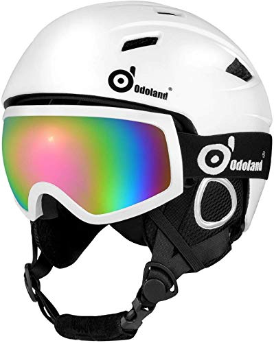 Odoland Snow Helmet Set with Ski Goggles, Unisex Snow Sports Helmet & Goggles for Men & Women, Protective Helmet & Goggles for Skiing Skating Snowboarding & More Winter Outdoor Sports