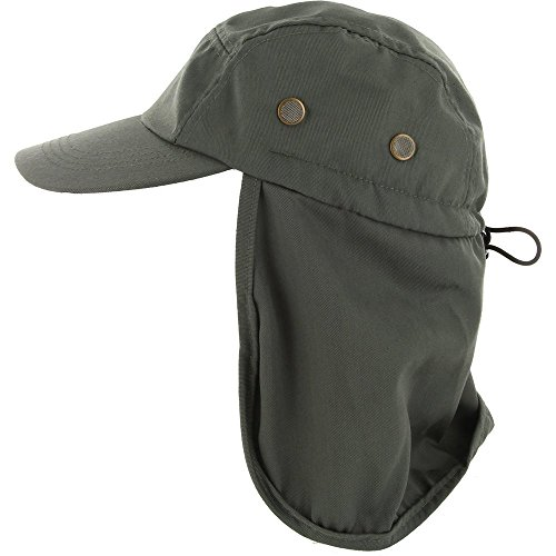 DealStock Fishing Cap with Ear and Neck Flap Cover - Outdoor Sun Protection Green