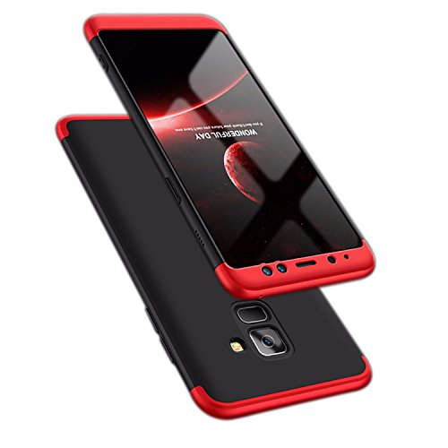 ATRAING Galaxy A8 Plus case, A Trading Shockproof Thin Hard Case Cover for Samsung Galaxy A8 Plus(2018)(Red+Black+Red)