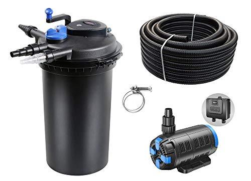 AquaOne Teich Filteranlage Set Nr.54 CPF 15000 Druckfilter regelbare 18-80W Eco Teichpumpe Teichgröße bis 30000l Teichschlauch