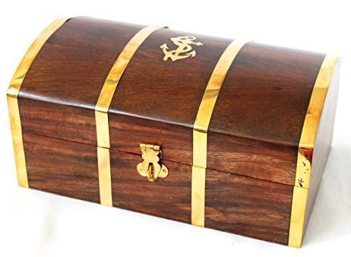 dekoundmeer Truhe Holz Messing 22 x 13,5 x 10,5 cm Schatztruhe abschließbar