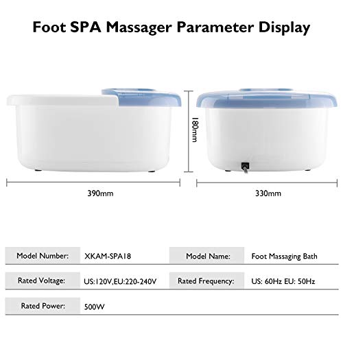 Foot Spa Bath Massager with Heat Bubbles Vibration 3 in 1 Function, 16 Masssage Rollers Soaker Digital Temperature Control Pedicure Tub for Tired Feet Stress Relief Home Use