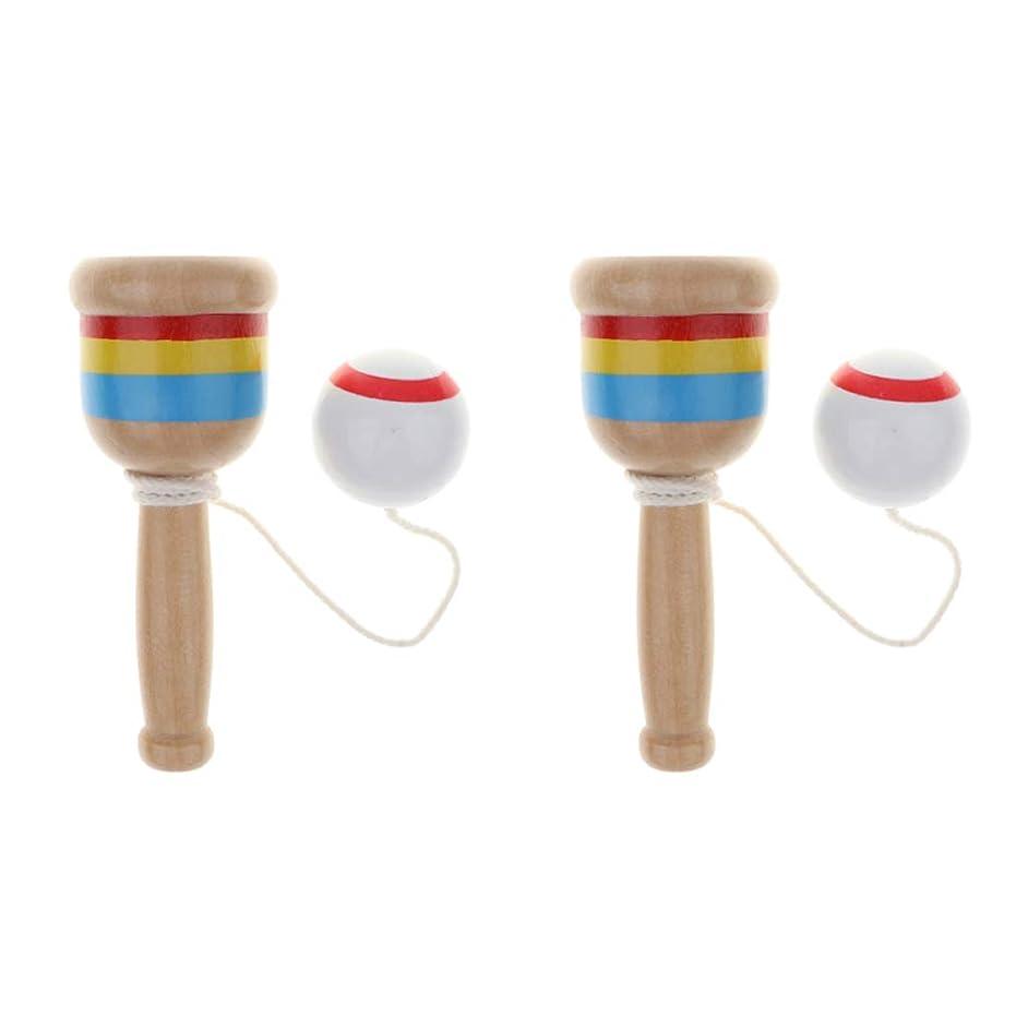 素朴なクランプ確かめるToygogo 2ピース/個子供用木製スキルカップ投げ&キャッチボール知育玩具