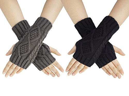 Chalier 2 Paar Armstulpen Damen Fingerlose Handschuhe, Winter Halb Fingerhandschuhe Winterhandschuhe, Wärmer Strick Kurzer Gestrickte Fingerlose Fäustlinge MEHRWEG