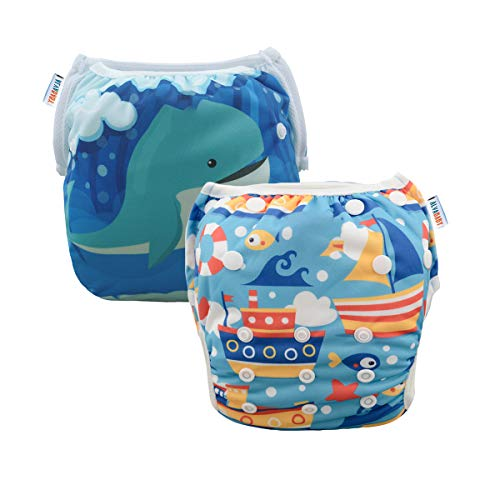 ALVABABY 2pcs Swim Diapers Reuseable Adjustable for Baby Gifts & Swimming Lessons SWD36-41