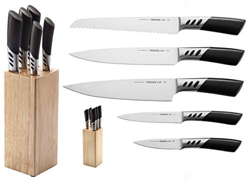 TRENDS Home 6 Pc Premium Kitchen knife set with block is a Double Forged German Stainless Steel knife set. This Kitchen knives set is UltraSharp and a Chef Quality Knife Sets with block for everyday.