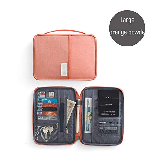 Hombre Mujer Organizador de Viaje Porta Pasaporte Paquete de Tarjeta Tarjeta de crédito Cartera multifunción Paquete de Tarjetas con múltiples Bolsillos de Moda - Polvo Naranja Grande
