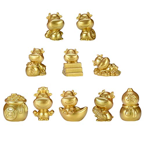 YARDWE 10pcs Resin Gold Cattle Figurine Ox Year Ornaments Golden Bull Cow Statue Collection Spring Festival 2021 New Year Table Decoration Kids Toys for Home Office Car Decor (Random Style)