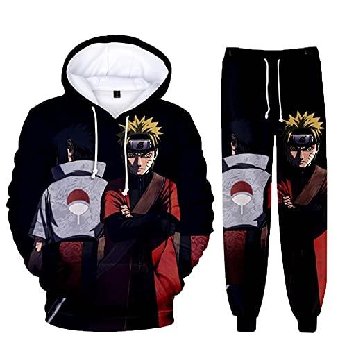 MUTOJIYO Jungen Hoodie und Hose Uchiha Itachi Sasuke Akatsuki Uzumaki Cosplay Kostüm 3D Anime Pullover Sweatshirt + Jogginghose Suit Trainingsanzug Sportbekleidung