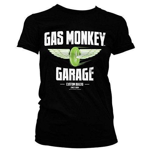 Gas Monkey Garage Officially Licensed Merchandise Speed Wheels Girly tee (Black), Small