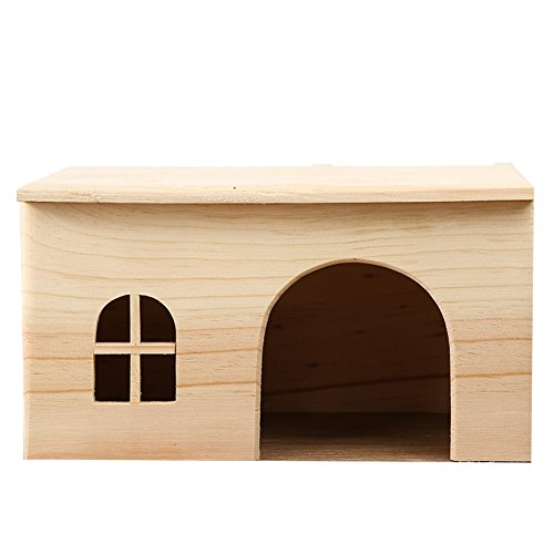 Casa rectangular de madera para hámsters de OMEM