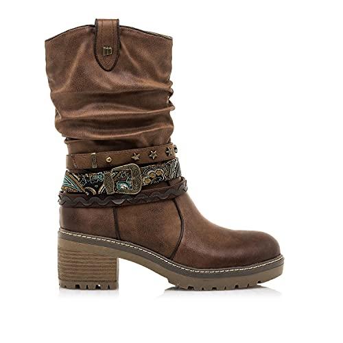 Botas Mujer MTNG | Botas Doris 50003 | MTNG Mujer | Botas caña Arrugada | Cierre con Cremallera | 49762 | Marron | 37
