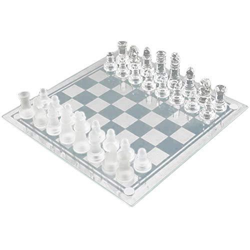 Schachbrettglas, Schachspiel, Schachbrett und Schachfiguren aus Glas, Geschenkset, 25 cm, Schachbrett komplett mit Schachfiguren
