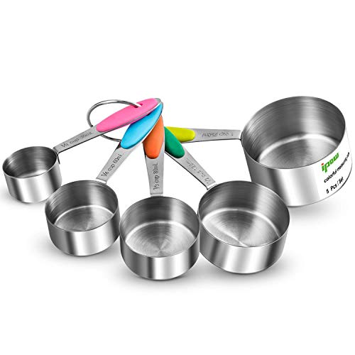 IPOW Verdickter Griff 5er Set Edelstahl Messbecher Messlöffel Amerikanische Cups mit Silikon Griff, Multifunktions für Küche Kochen Backen