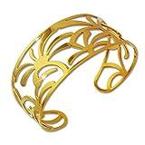 Adamello acero inoxidable brazalete de palmeras para mujer de acero chapado en oro brazalete para mu...
