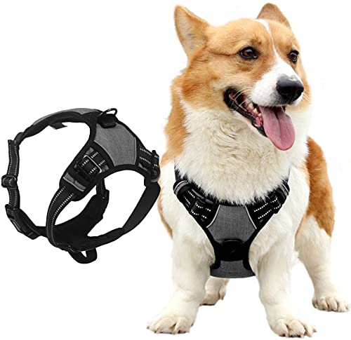 NIUBICLAS Arnés de perro sin estrangulamiento frontal para perro, arnés reflectante ajustable, suave acolchado con mango de fácil control