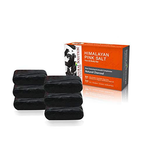 Natural Solution Activated Charcoal Soap Bar - All Natural Detoxifying Face & Body Cleanser,Shea Butter & Sunflower Seeds Oil - 5.2 oz Each (6 Pack)