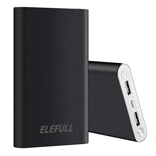ELEFULL 10000mAh Powerbank mit Taschenlampen (10000mAh schwarz)