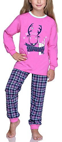 Timone Mädchen Schlafanzug TITR433/434 (Rosa, 134)