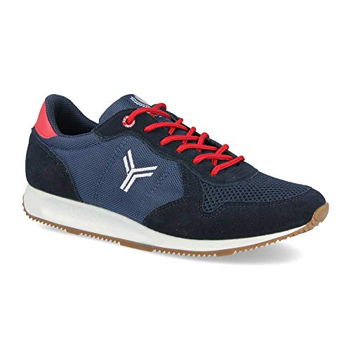 Zapatilla Sneaker Yumas Dublin Marino Fabricado en Piel Serraje y nilon Plantilla Confort Latex para Hombre