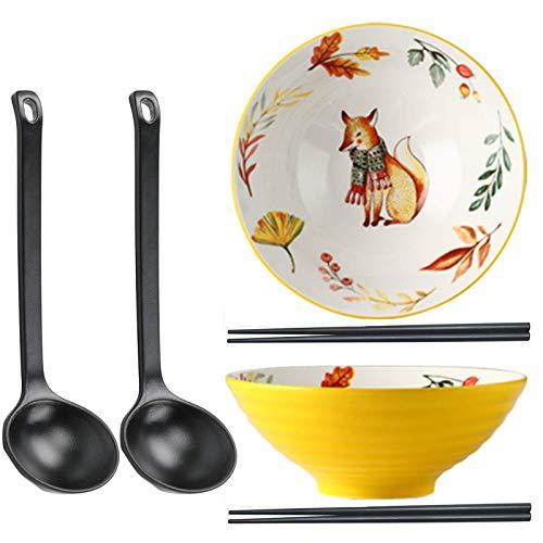 YWYW 2 Juegos de tazones de cerámica para Ramen, tazones de Sopa de 40 oz, tazón Grande para Fideos con Palillos y Cuchara, Apto para lavavajillas, para Ramen, pho, Ensalada, Poke, Sopa, 8 pulgad