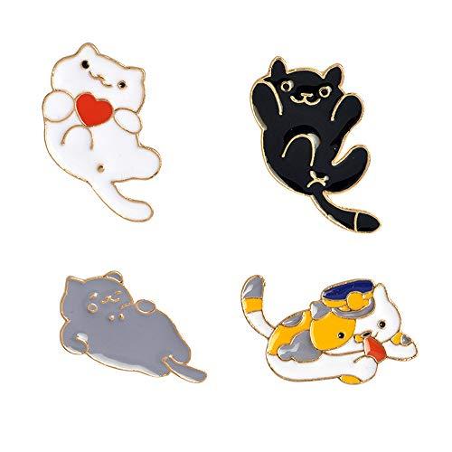 Broche de solapa para gato, 4 unidades, diseño de gato Kawaii, con esmalte de dibujos animados para mujeres y niñas, accesorios para mochilas