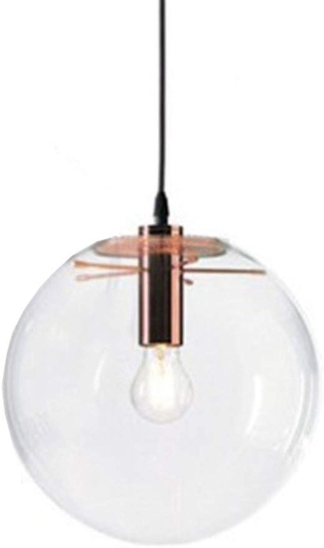 FAFY Pendelleuchten Moderne Kreative Glaspendelleuchte Kronleuchter Leuchte Mit Glaskugel Runde Pendelleuchte Retro Deckenleuchte E27 (Enthlt Keine Glühlampen),B-25cm