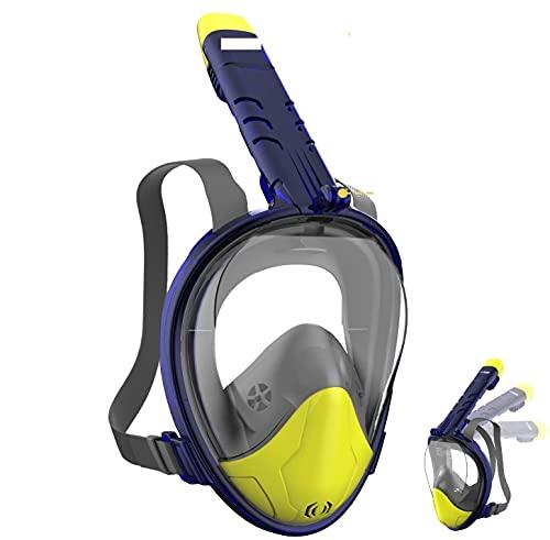 WOTEK Mascara Buceo Mascara Snorkel 180° Panorámica Gafas Buceo de Cara Completa Gafas de Bucear Anti-Niebla y Anti-Fugas, Apoyo Camara Deportiva para Adultos y Niños y Hombre