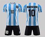 youfenghui Retro Vintage Argentinien Weltmeisterschaft 1986 Maradona # 10 Fußball Trikot Heimtrikot, T-Shirt Shorts Kits mit Namen und Nummer Kinder/Erwachsene, Dont Cry for Me Argentina (24)
