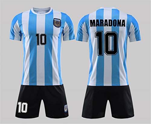Retro Vintage Argentina World Cup 1986 Maradona # 10 Maglia da calcio Home Shirt, T-Shirt Shorts Kit con nome e numero Bambini/adulti, Dont Cry For Me Argentina (XL)