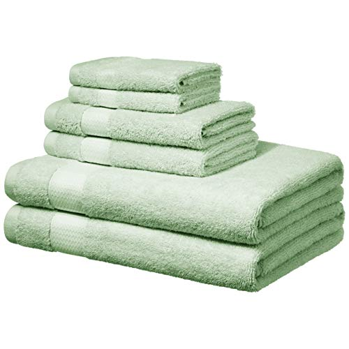 Amazon Basics Everyday Bath Towels, 6 Piece Set, Seaglass Green, 100% Soft Cotton, Durable