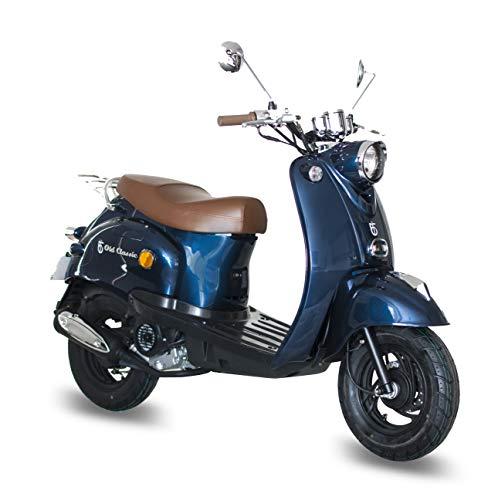 Motorroller GMX 460 Retro Classic 25 km/h dunkelblau - sparsames 4 Takt 50ccm Mofa mit Euro 4 Abgasnorm