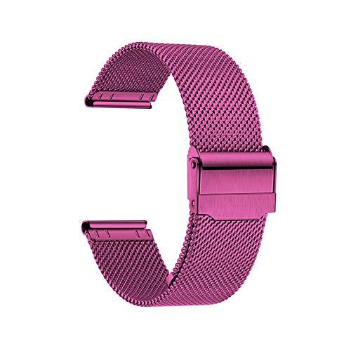 Uhrenarmband Verstellbares Edelstahlnetz Ersatz Uhrenarmband Atmungsaktiv Und Wasserdicht Schnellverschluss,Pink-10mm