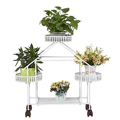 smzzz Home Improvement Flower Displayhalter Blumenständer 3-stufiger europäischer Blumentopfständer im europäischen Stil mit Flaschenzug Gartenpflanzenhalter Display für Pflanzenständer im