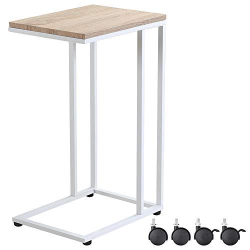 CASARIA Table d'appoint Blanc avec Pieds et roulettes Cadre MDF/métal Table à café Mobile desserte Table Bout de canapé Salon Table pour Ordinateur pc Portable