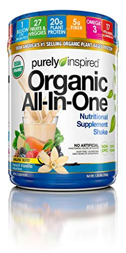 Purely Inspired Nutritional Supplement Shake Powder, Vegan, 20g Protein with Fiber, Vitamins, Minerals & Probiotics, French Vanilla, 15 Servings (1.3lbs)(Packaging May Vary)