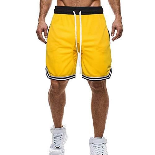 U/A Verano de los Hombres de Baloncesto Pantalones Cortos de Moda Casual Deportes Grandes de Encaje Hasta Pantalones de Playa de los Hombres Pantalones Amarillo amarillo 54